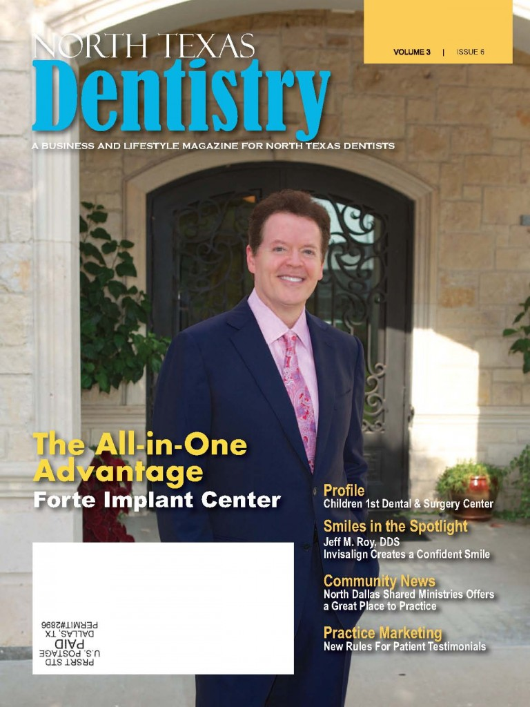 Dr. Fitzgerald on the cover of North Texas Dentistry